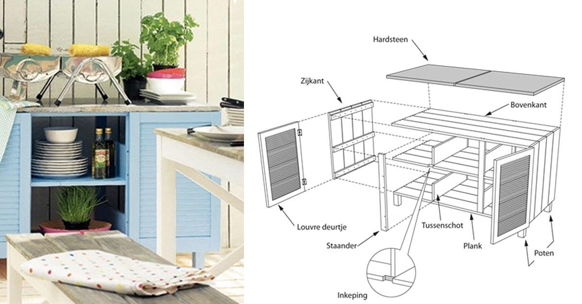 Houten Buiten Keuken : Een buitenkeuken maken van hout buitenlevengevoel