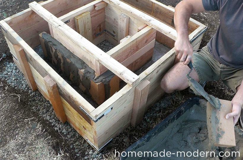 betonnen vuurplaats maken
