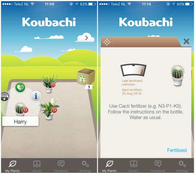 Koubachi app screenshot