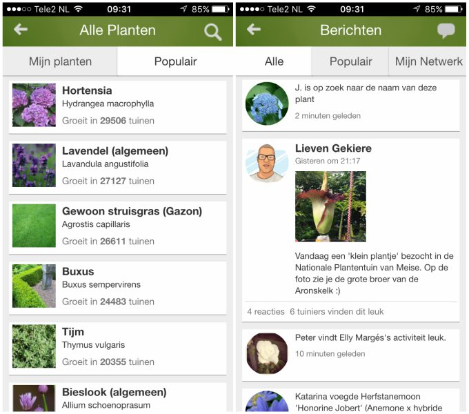 MijnTuin app screenshots