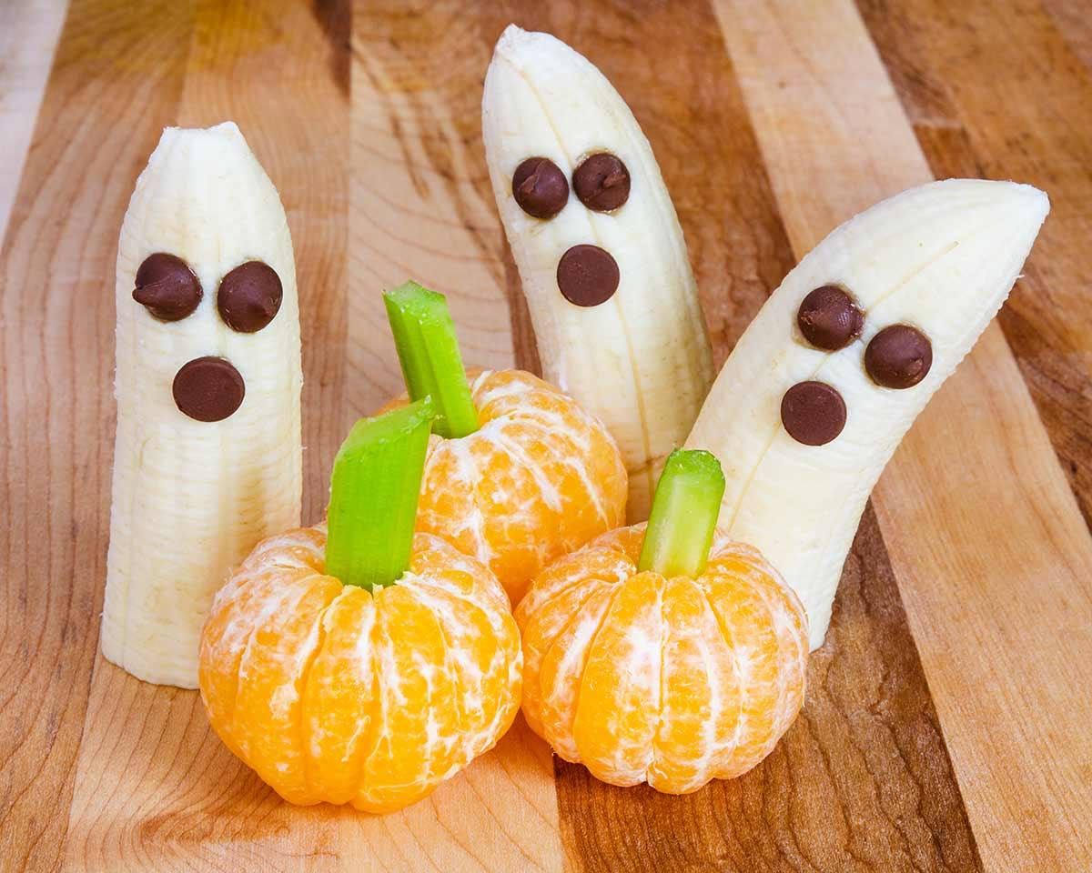 Bananen spoken mandarijnen pompoenen