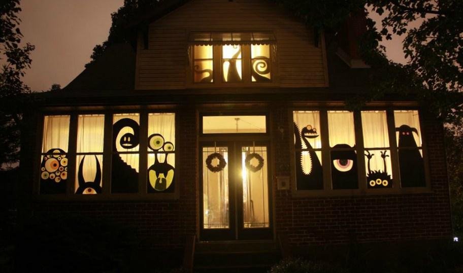 halloween huis silhouetten