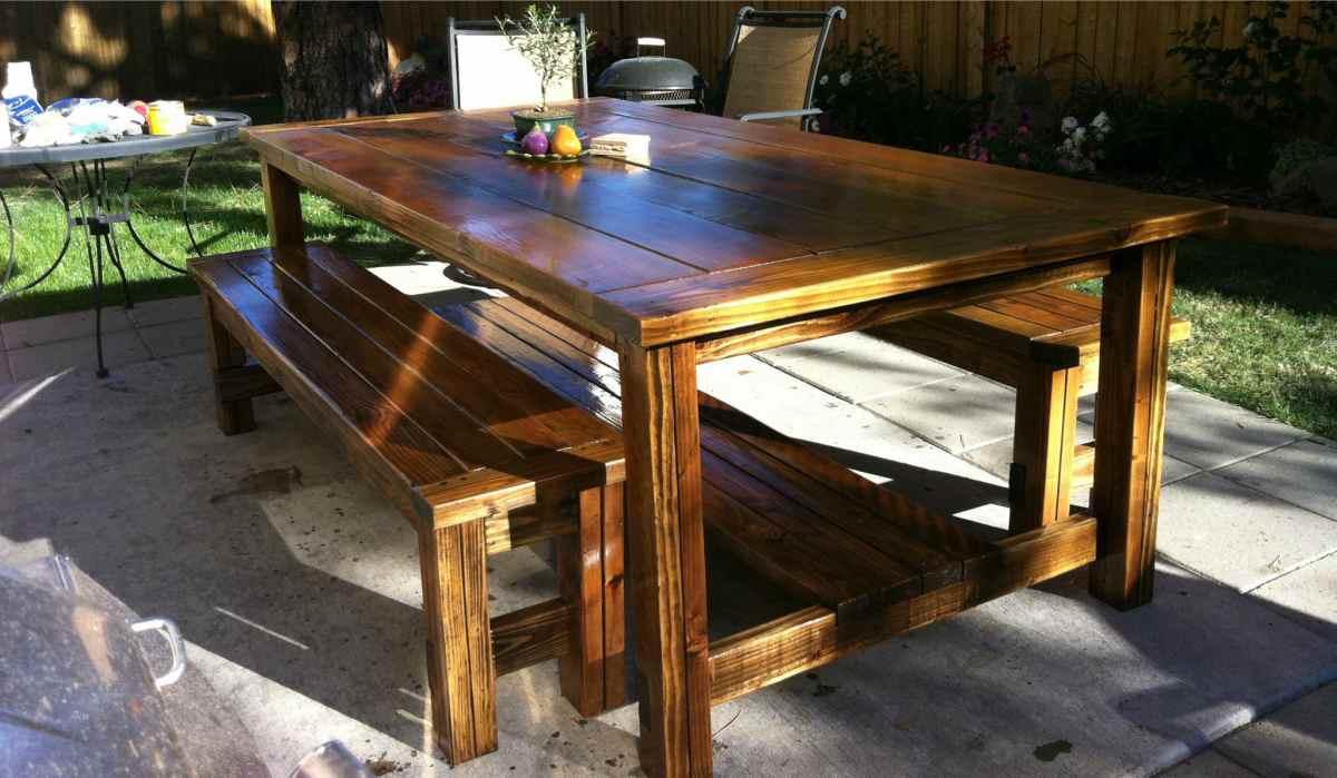 Bouwtekening houten tuintafel handige bouwplannen