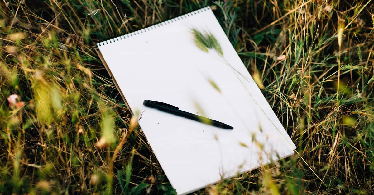 notieboek-en-pen-in-het-gras