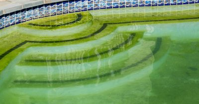 Groen-zwembadwater