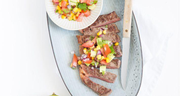 Mexicaanse steak met maissalsa
