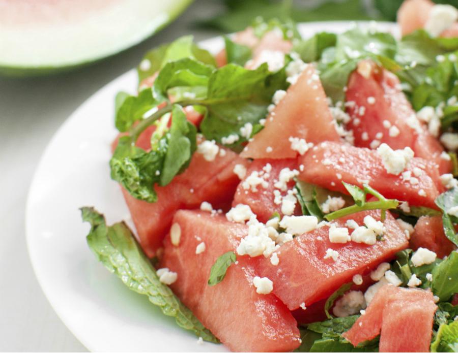 Salade van watermeloen, feta en munt