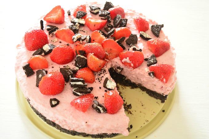 Oreo aardbeien kwarktaart