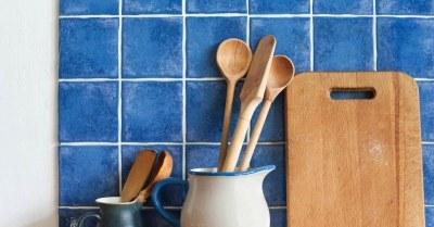 Blauwe tegels keuken