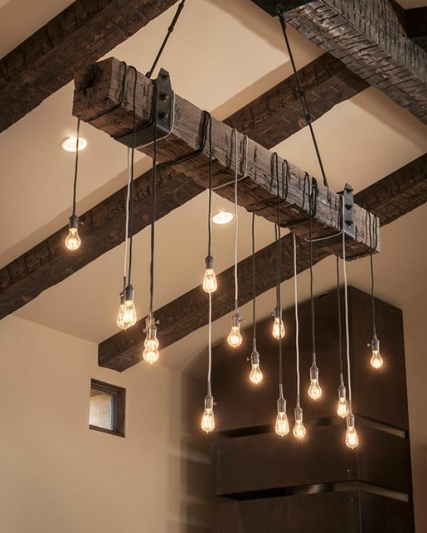 Een balk met lampen
