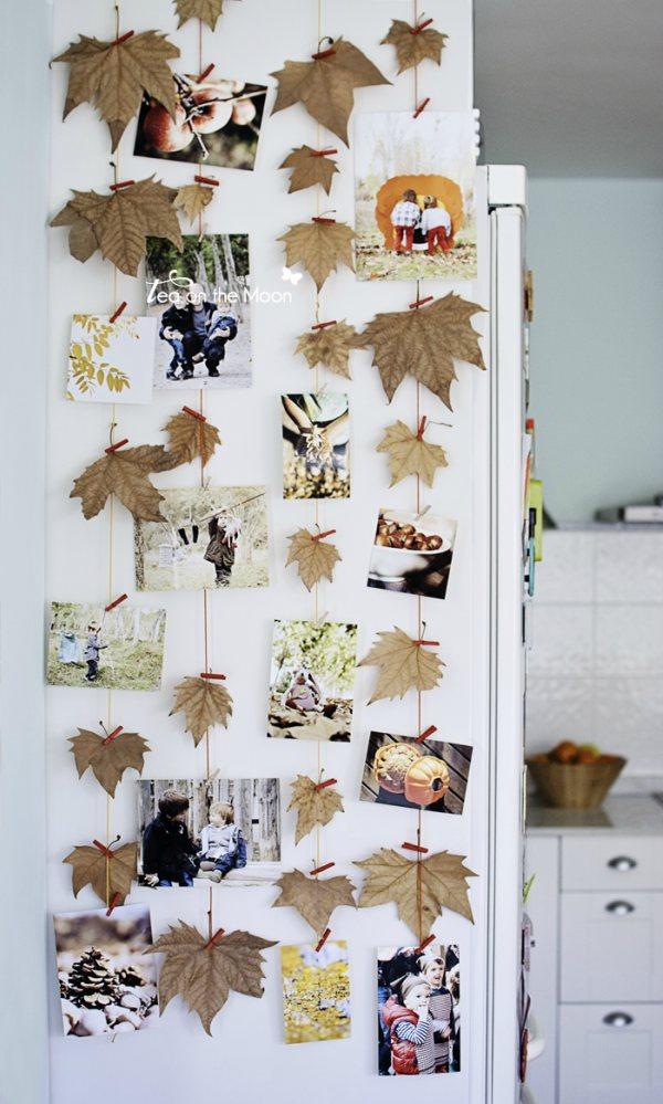 Fotocollage met herfstbladeren