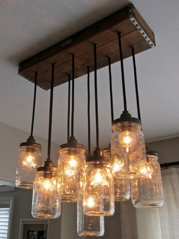 Glazen potten als hanglamp