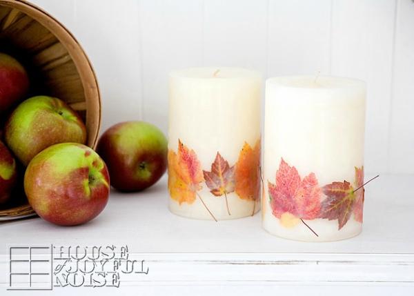 Kaarsen met echte bladeren