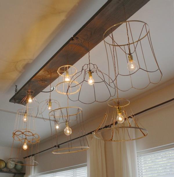 Oude lampenkappen nieuwe hanglamp