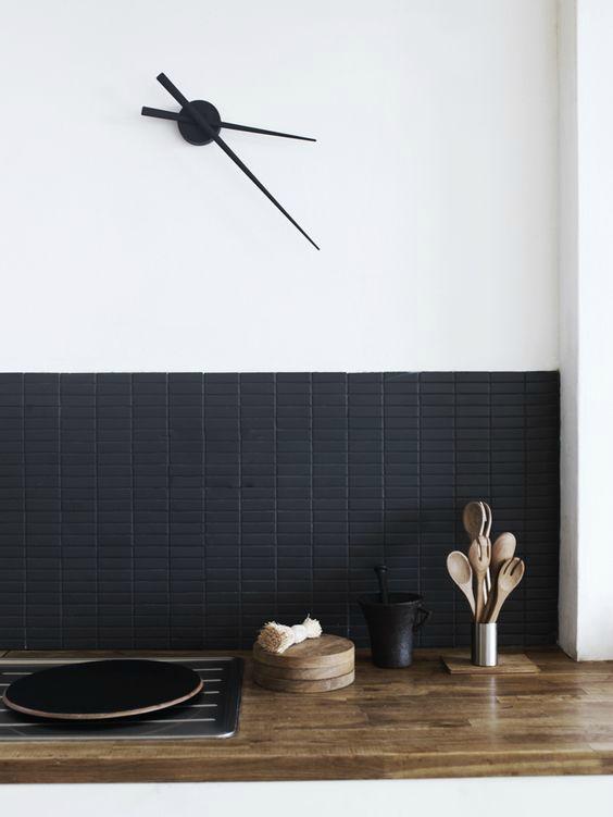 Zwarte spattegels keuken