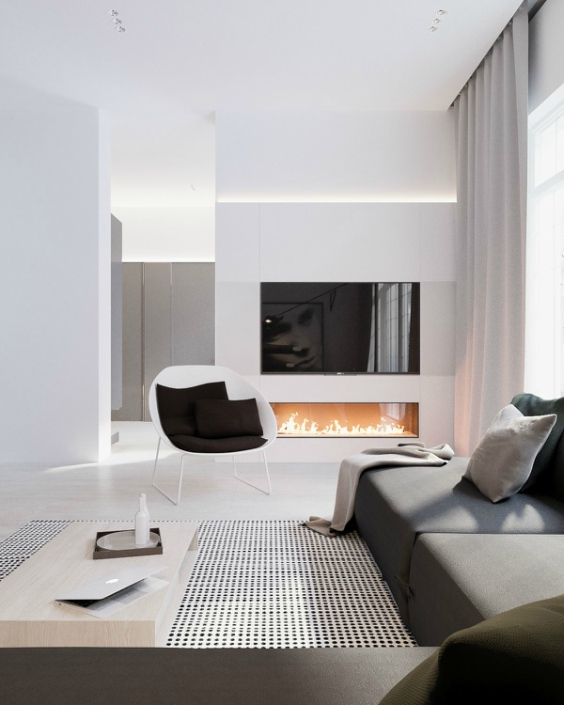 minimalistisch interieur kleed met stippen