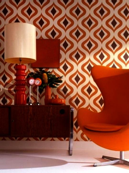 Retro interieur oranje