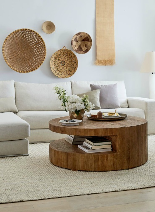 Ronde salontafel massief hout
