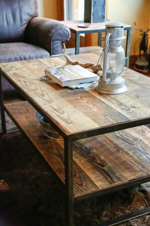 Salontafel hout en staal