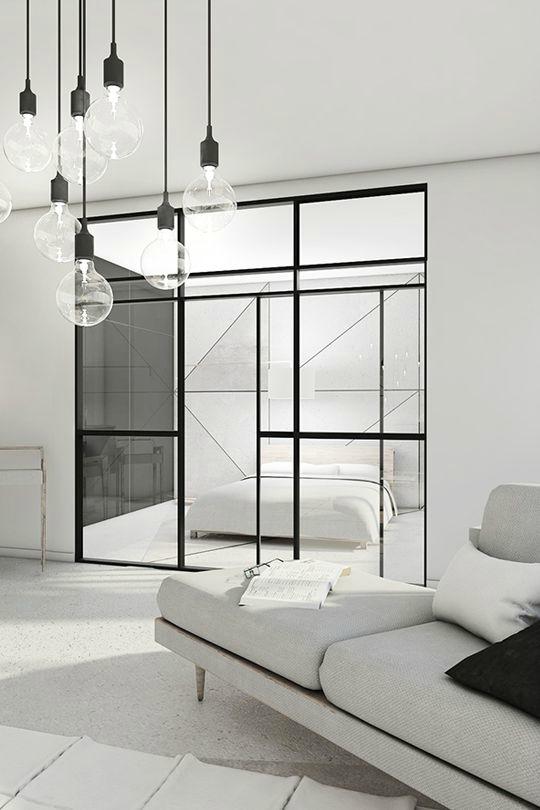 Wit grijs zwart minimalistisch interieur
