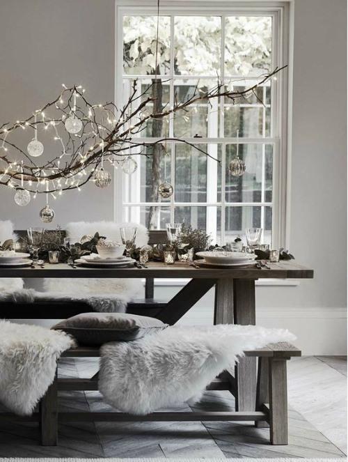 Kerstverlichting grijs en wit