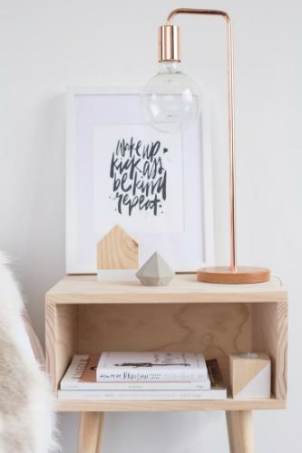 Tafellamp met koperen frame